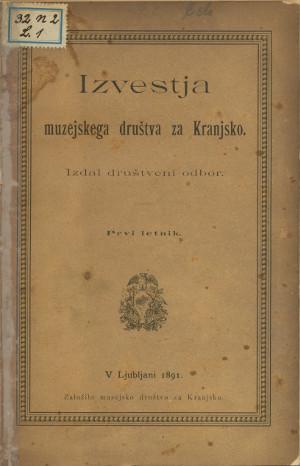 Naslovnica novic muzejskega društva za Kranj