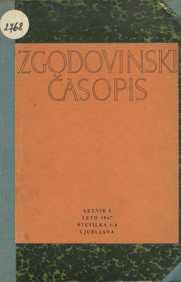 Naslovnica revije Zgodovinski časopis, leto 1947