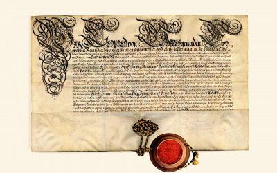 Zaščitni patent cesarja Leopolda I., izdan kovaškemu cehu v Škofji Loki, 1686